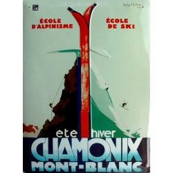 Plaque métal publicitaire 30x40cm bombée : Chamonix Mont-Blanc.