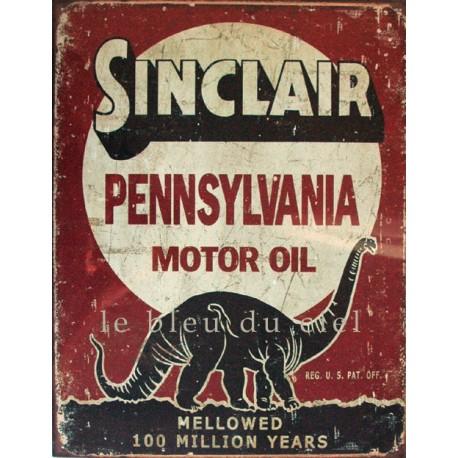 Plaque métal  publicitaire 30x40cm plate : SINCLAIR PENNSYLANIA MOTOR OIL.