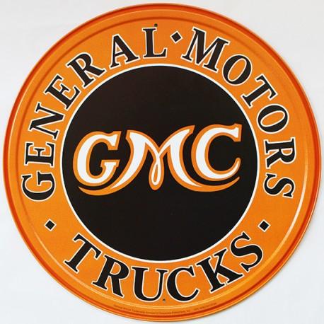 Plaque métal publicitaire diamètre 30 cm plate : GMC GENERAL MOTORS TRUCKS.