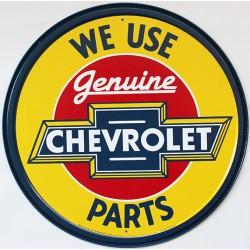 Plaque métal publicitaire diamètre 30 cm plate : CHEVROLET PARTS.