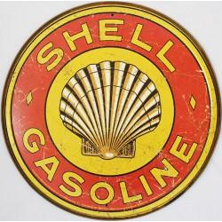 Plaque métal publicitaire ronde diamètre 30cm plate : SHELL GASOLINE VINTAGE.