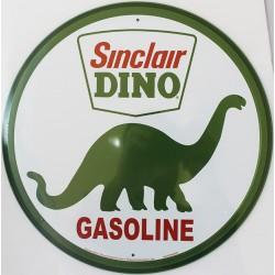 Plaque métal publicitaire ronde diamètre 30cm plate : SINCLAIR DINO GASOLINE.