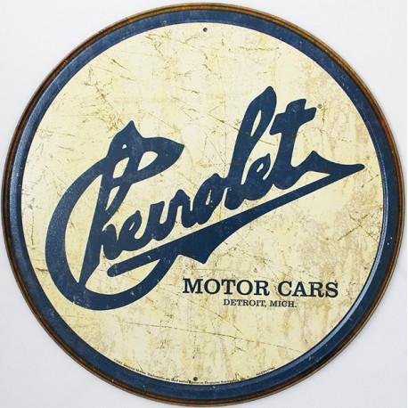 Plaque métal publicitaire diamètre 30 cm plate : CHEVROLET VINTAGE.