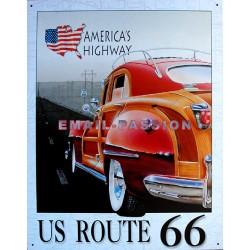 Plaque métal publicitaire 30x40cm plate : US ROUTE 66.