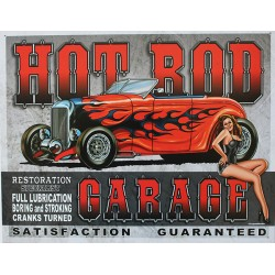 Plaque métal publicitaire 30x40cm plate : HOT ROD GARAGE.