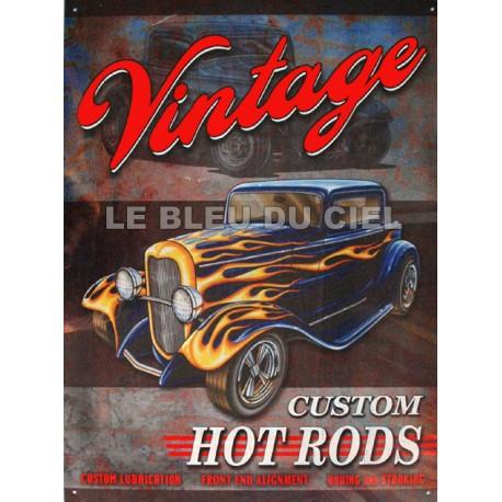 Plaque métal publicitaire 30x40cm plate :  VINTAGE CUSTOM.
