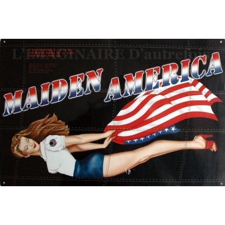 Plaque métal publicitaire 30x40cm plate :  MAIDEN AMERICA.