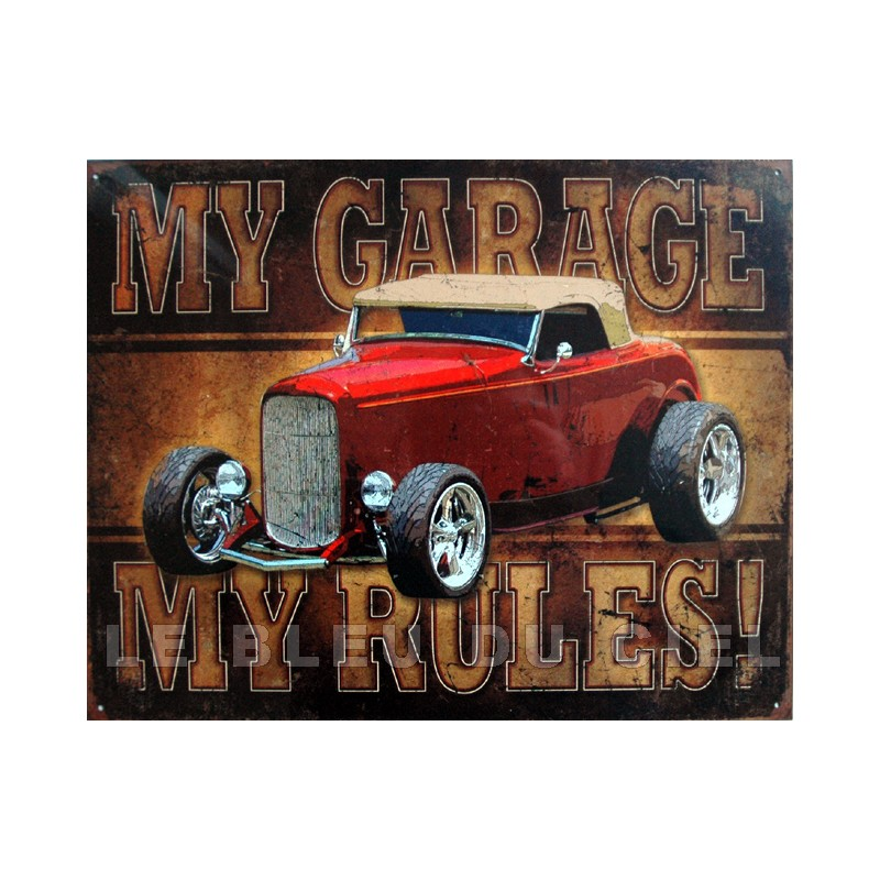 plaque m tal publicitaire 30x40cm plate my garage my rules. Black Bedroom Furniture Sets. Home Design Ideas