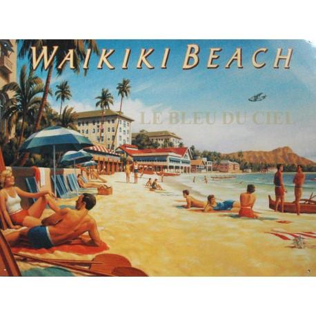 Plaque métal publicitaire 30x40cm plate :  WAIKIKI BEACH.
