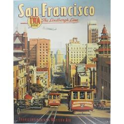 Plaque métal publicitaire 30x40cm plate :  SAN FRANCISCO TRANSCONTINENTAL.
