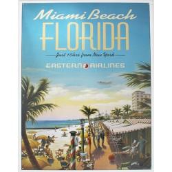 Plaque métal publicitaire 30x40cm plate : MIAMI BEACH.