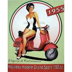 Plaque métal publicitaire 30x40cm bombée en relief  :  VESPA 1955.