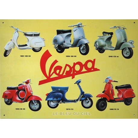 Plaque métal publicitaire 30x40cm plate en relief  :  VESPA 1948-1986.