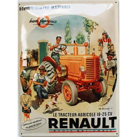 plaque métal publicitaire bombée  en relief  30 x 40 cm : TRACTEUR RENAULT.