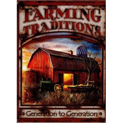 Plaque métal publicitaire plate 30x40cm : FARMING TRADITIONS.