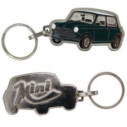 Porte-clés émaillé chromé Mini Austin vert foncé.