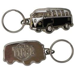 Porte-clés émaillé chromé VW Combi noir et blanc.