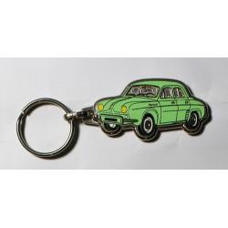 Porte-clés émaillé chromé Dauphine verte.