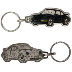 Porte-clés émaillé chromé Porsche 911 noire.