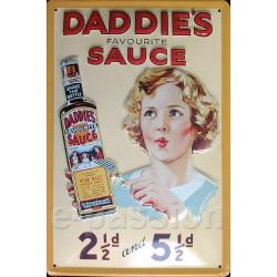 Plaque métal publicitaire 20 x 30 cm bombée et relief : Daddie's Sauce.