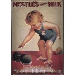 Plaque métal publicitaire 20x30cm bombée en relief : NESTLÉ'S SWISS MILK.