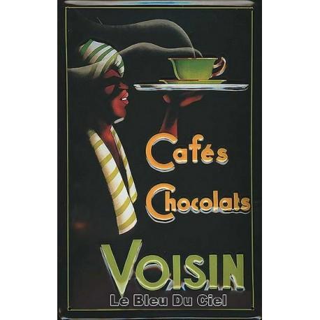 Plaque métal publicitaire 20x30cm bombée en relief :  Cafés Chocolats VOISIN.