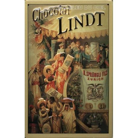 Plaque métal publicitaire 20x30cm bombée en relief :  Chocolat LINDT.