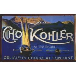 Plaque métal publicitaire 20x30cm bombée en relief :  Chocolat KOHLER.