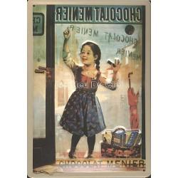 Plaque métal publicitaire 20x30cm bombée en relief : Chocolat MENIER.