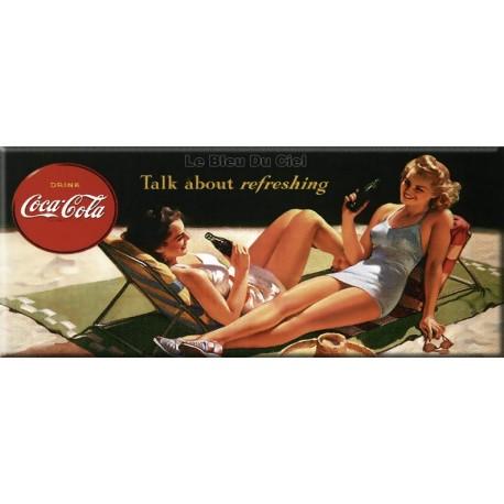 Plaque métal publicitaire 22 x 45 cm bombée  :   Coca Cola Talk about refreshing.