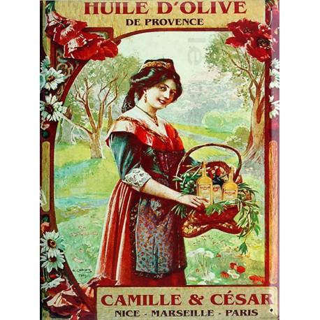 Plaque métal  publicitaire 30x40cm  plate : HUILE D'OLIVE CAMILLE & CÉSAR.