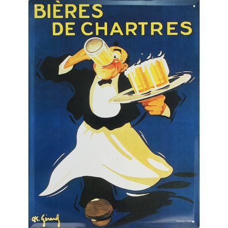 Plaque métal publicitaire 30x40cm plate : Bières de Chartres.