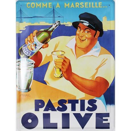 Plaque métal  publicitaire plate  30x40cm bombée :  PASTIS OLIVE.