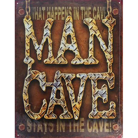 Plaque métal publicitaire 30x40cm plate : MAN CAVE.