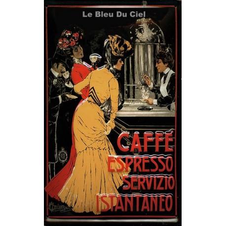 Plaque métal publicitaire 20x30cm bombée en relief :  CAFÉ ESPRESSO