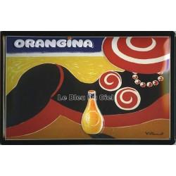 Plaque métal publicitaire 20x30cm bombée en relief :  ORANGINA PLAGE