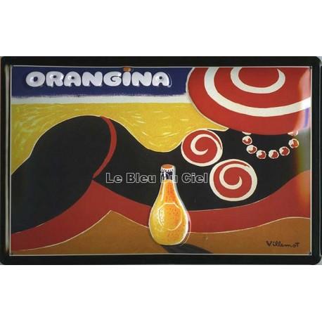 Plaque métal publicitaire 20x30cm bombée en relief :  ORANGINA PLAGE.