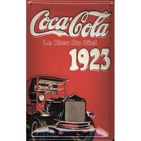 Plaque métal publicitaire 20x30cm bombée en relief : COCA-COLA 1923.