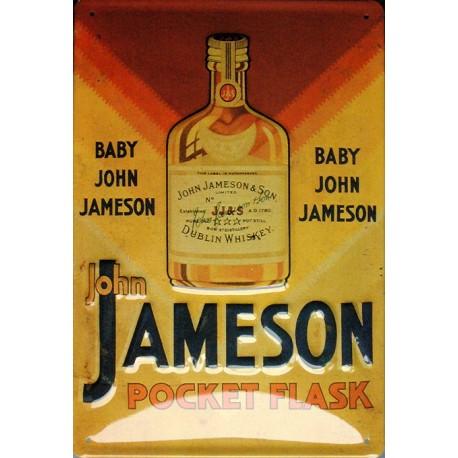 Plaque métal publicitaire 20x30cm bombée en relief : JAMESON POCKET FLASK.