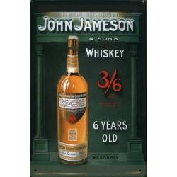 Plaque métal publicitaire 20x30cm bombée en relief : JOHN JAMESON.