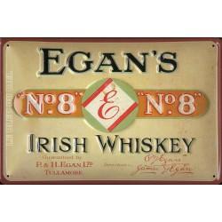 Plaque métal publicitaire 20x30cm bombée en relief :  EGAN'S IRISH WHISKEY.