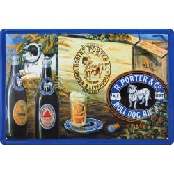 Plaque métal publicitaire 20x30cm bombée en relief  : PORTER & Co.