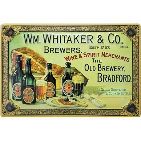 Plaque métal publicitaire 20x30cm bombée en relief  : WM. WHITAKER & Co.