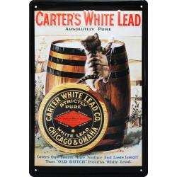 Plaque métal publicitaire 20x30cm bombée en relief : CARTER'S WHITE LEAD
