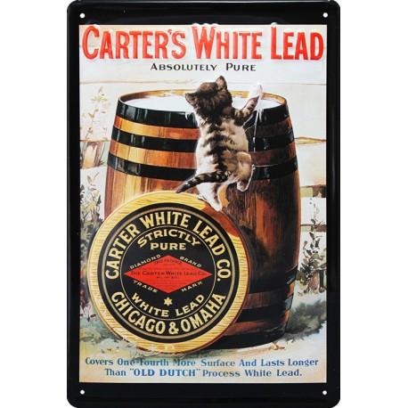 Plaque métal publicitaire 20x30cm bombée en relief : CARTER'S WHITE LEAD.