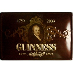 Plaque métal publicitaire 20x30cm bombée en relief : GUINNESS 1759-2009.