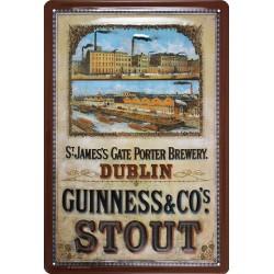 Plaque métal publicitaire 20x30cm bombée en relief : GUINNESS & CO's STOUT