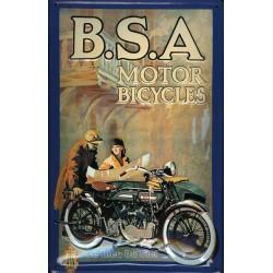 Plaque métal publicitaire 20x30cm bombée en relief : B.S.A. MOTOR BICYCLES