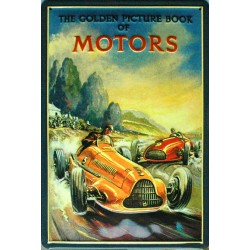Plaque métal publicitaire 20x30cm bombée en relief :  The Golden Picture Book of Motors.