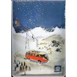 Plaque métal publicitaire 20x30cm bombée en relief :  COMBI sport d'hiver.